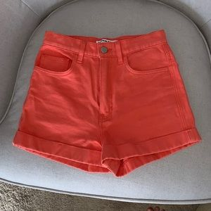 AMERICAN APPAREL HIGH WAISTED ORANGE SHORTS